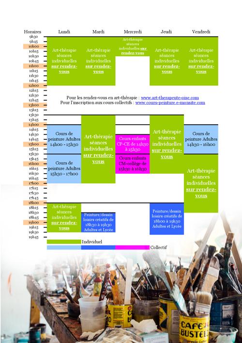 Planning 2019 2020 cours de penture dessin loisirs creatif oise crepy en valois senlis compiegne le plessis belleville 60330 60800 60300 60200